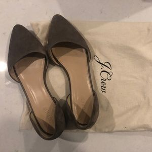 J Crew Dorsay Suede Flats in Taupe